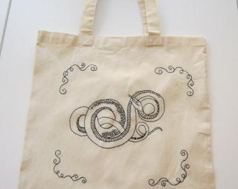 Embroidered Snake Tote Bag