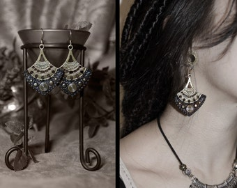Single room - Queen of tribe during tribal vegan leather gypsy Tribal earrings