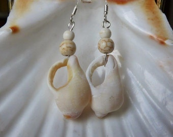 Natural sea shell earrings, real seashell earrings, beaded shell earrings, cream shell earrings