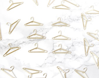 6 Gold Clothes Hanger Paper Clips - Clothes Hangers Planner Paperclips - Gold Paper Clips - Gold Planner supplies - Gold Planner Accessories