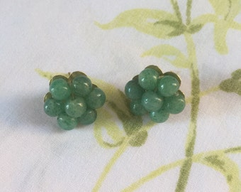 Vintage jade stud earrings