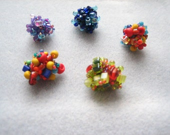 Bead lumps (5pcs), bead clusters, beaded beads, beaded pendants, colourful glass, glass beads
