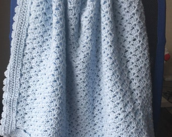 Crocheted blue baby afghan