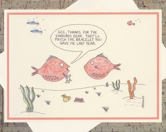 Funny Thank You Card, Funny Holiday Card, Funny Card, Quirky Card, Humor Card, Ocean Card, Nautical