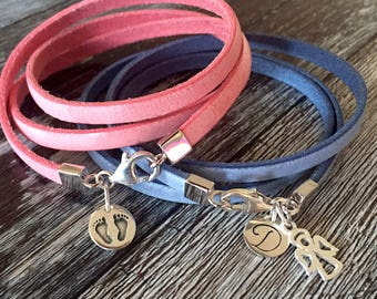 It's a girl,boy thing/ pink/ blue/ new baby gift/ leather/ sterling silver/ wrap bracelet