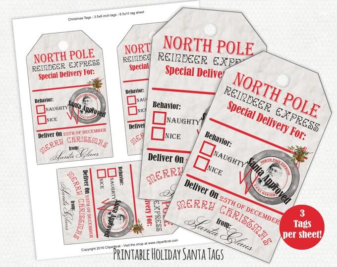 CHRISTMAS GIFT TAGS Printable Christmas Tag Sheet From Santa North Pole Reindeer Express Diy Large Holiday Labels Naughty or Nice Santa Tags
