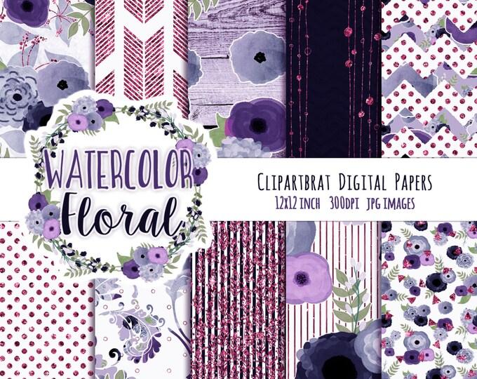 FLORAL WATERCOLOR Digital Paper Pack Coral Navy Blue & Pink Metallic Commercial Use Digital Paper Wood Arrows Bohemian Wedding Digital Paper