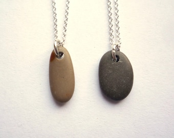 1 Tiny unpolished rock pendant on solid sterling silver chain, Dainty tan or brown beach stone necklace