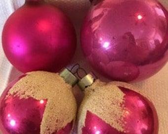 Pink Vintage Ornaments,  Shiny Brites,  1950's