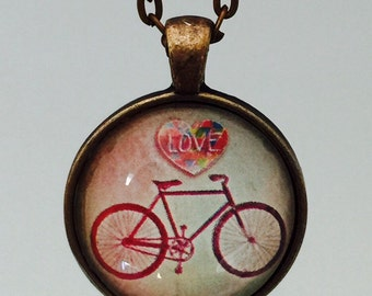 CLEARANCE SALE Bicycle (Love) : Glass Dome Necklace, Pendant or Keychain Key Ring. Gift Present metal art photo jewelry by Bohemian Marvels