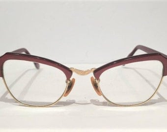 60s Bausch & Lomb Large Red Combination Browline Eyeglasses, Vintage 50s Ruby Red Cat Eye Glasses, Mid Century Red Geek Rockabilly Frames