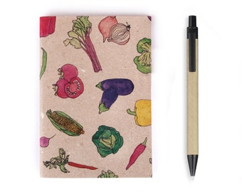 Small Notebook - Vegetables, Stationery, Recycled Paper, Lined Paper, Blank Paper, Watercolour, Journal, To do list, A6 Notebook, Travel