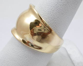 NEW Solid 14K Yellow Gold Cigar Dome Statement Ring Band 14mm, Sizes 5 - 12