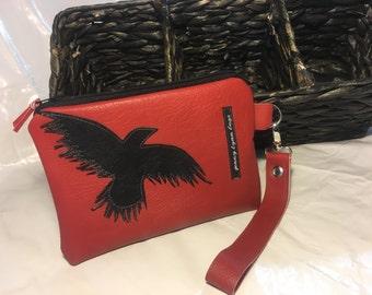 Red leather wristlet set