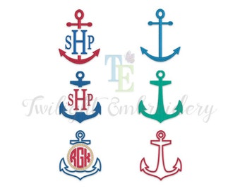 Set of 6 Anchor Machine Embroidery Designs, Anchor Embroidery Designs, Nautical Machine Embroidery Designs 0068