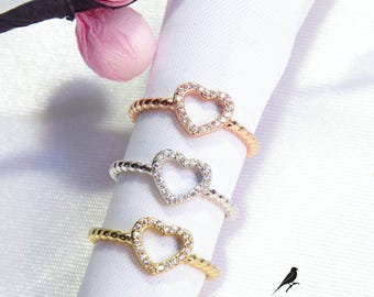Heart Ring Cz 925 Silver Yellow Rose Gold