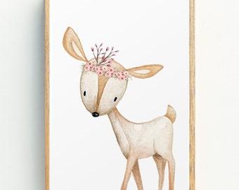 Woodland Nursery Print | Animal Nursery Art | Floral Woodland Nursery Decor | Girls Nursery Wall Art | Deer | Girls Prints | Art for Kids