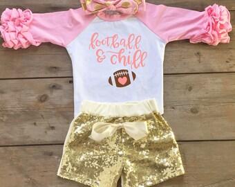 Football Toddler Outfit - Girl Football Shirt - Super Bowl Party Outfit - Girl Raglan Football Shirt - Football Fan - Toddler Football Shirt