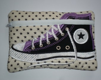 Stars Embroidered High Top Shoe Purse - Pouch - Like Converse -