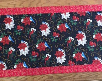 Christams Table Runner with Birds and Poinsettias
