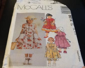 McCalls 8614 size 6-7-8 sewing pattern, childrens and girls dress and pantaloons. gorgeous summer dress  with pantaloons , four dress