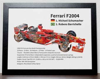 Ferrari F2004 Car Formula One Poster