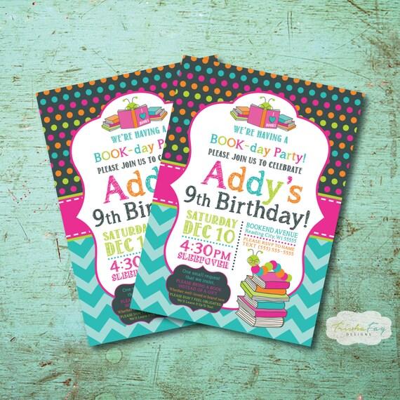 Bookworm Birthday Party Invitation Book Birthday Party