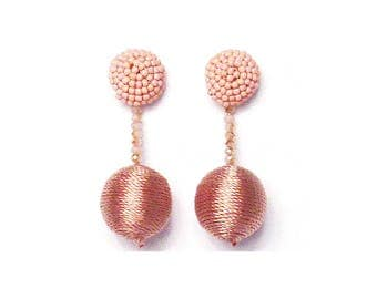 2 -Tiers of Pink Beaded Silky Sheen Disco Ball Drop Statement Earrings