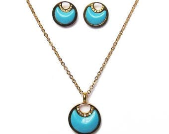 Vibrant Gold Plated Silver Turquoise Rounds Pendant Necklace Earring Set