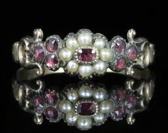 Antique Georgian Garnet Pearl Ring Circa 1780