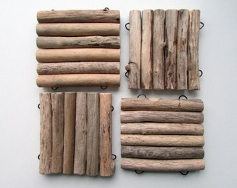 Driftwood Coasters, set of 4 (driftwood art, driftwood decor) Serve Your drinks with style!