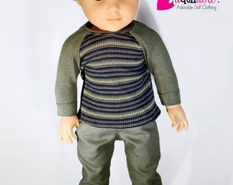 American made Boy Doll Clothes, 18 inch Boy Doll Clothing, Olive Green Baseball Tee with Pants made to fit like American Girl doll clothes