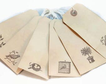Gift Tags, Bird Gift Tags, Cottage Chic Tags, Shabby French Tags, Tea Stained Tags, Favor Tags, Primitive Luggage Tags, French Tags, Wedding