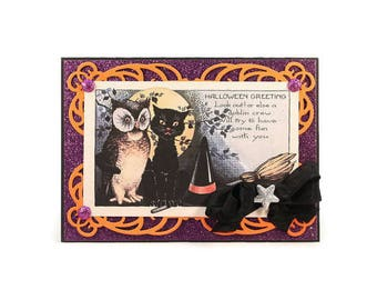 Halloween Greeting Card, Owl, Cat, Witch Hat, Broom, Halloween Greetings, Handmade Card, Luxury Halloween Card, Halloween Decor, Gift, Party