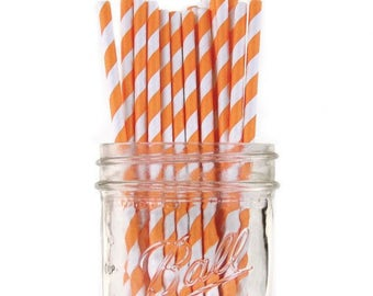 Paper Straws | Orange Striped Paper Straws | Orange & White Striped Straws | Eco friendly Biodegradable | Party Supplies | The Party Darling