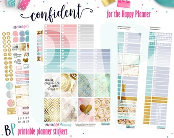 Confident Weekly | Weekly Printable Planner Kit | Planner Stickers | Cut Lines | for use with Happy Planner | Planner Stickers Printables