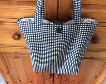 Tote bag, shopping bag, hold-all, holiday bag, pretty fabric, check fabric, blue and white
