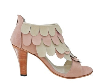 ZINNIA pink & Nude - taco with petal detail sandals. 100% leather - free shipping
