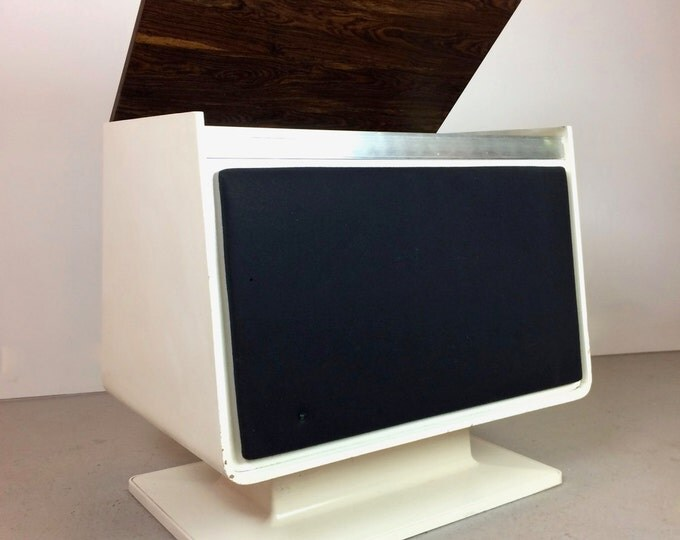 Mid Century Modern White Zenith Vinyl Record and Radio Console