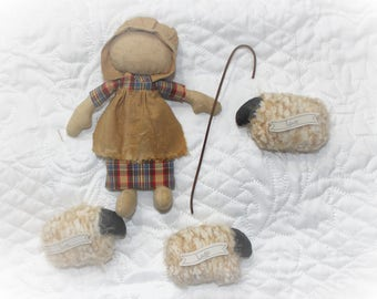Primitive Rag Doll Annie with her Sheep
