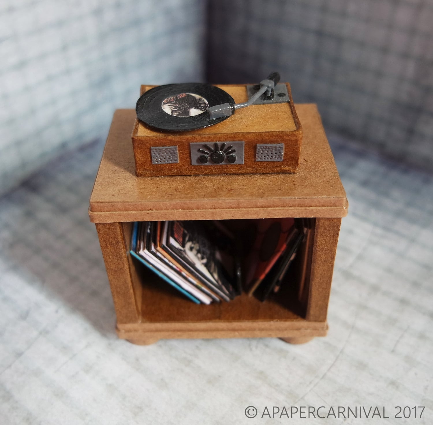 Vintage paper record player, records & cabinet – retro – tiny ...