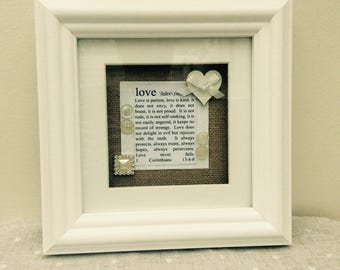 Wedding or Anniversary Gift- What is Lovein a box frame- Corinthians13 4-8 definition of love with hearts and buttons. Romantic.