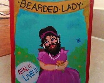 """Bearded Lady sideshow banner painting.""""Free shipping!"""""""