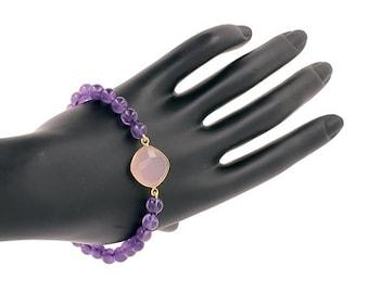 Bracelet Pearl of amethysts and rose quartz