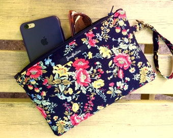 Black Floral Evening Bag, Wristlet Clutch with Hand Loop, iPad Mini Case or Kindle Case