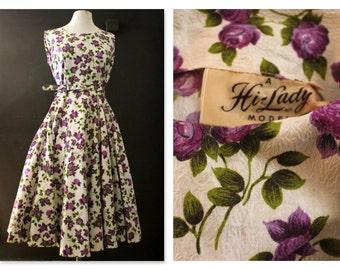 Bright Rose Print half circle skirt 50's Day dress