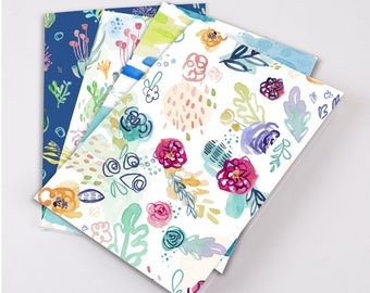 Thin Notebook - Watercolor Floral or Seaweed Pattern