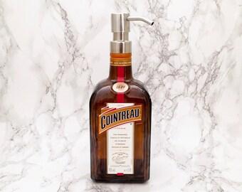 Cointreau Bottle Soap Pump Dispenser (Water Repellent Label) Upcycled Bottle