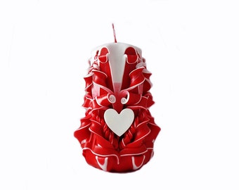 Carved candle as a gift on Valentine's day-Valentine's day-red white-carved handmade candles-candles as a gift