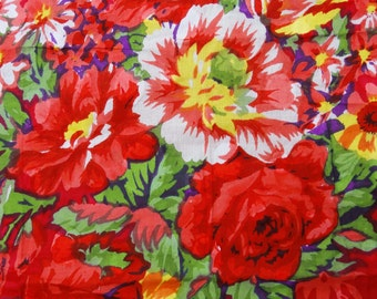 "Designer Fabric, Home Decor, Floral Print, Red Fabric, Dress Material, Cotton Fabric, Sewing Craft, 43"" Inch Fabric By The Yard ZBC7199A"
